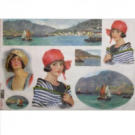 Carta riso paesaggio marino con donna stamperia 33x48