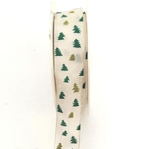 Decoro Albero Natale con filo metallico Nastro Arti e Grafica Fantasia alberelli verdi 25 mm