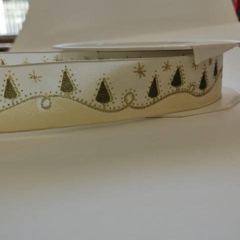 Decoro Albero Natale con filo metallico Nastro Arti e Grafica Fantasia Alberelli, Stelle e Brillantini 25mm