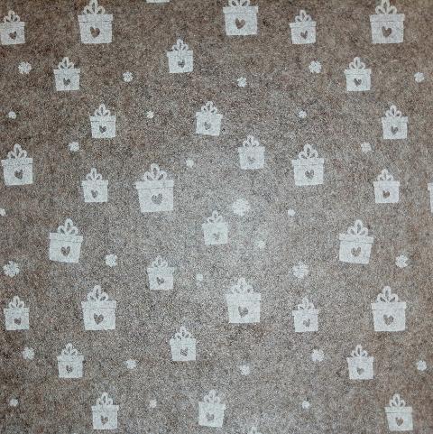Pannolencio marrone scuro con pacchetti bianchi stafil 90x50cm