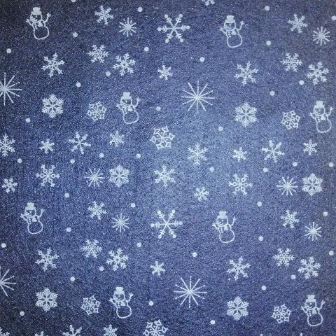 Pannolencio blu notte con fiocchi neve panna stafil 90x50cm