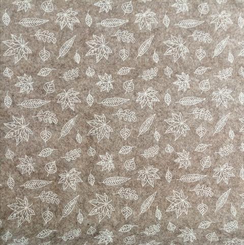 Pannolenci marrone melange con foglie bianche stafil 90x50cm