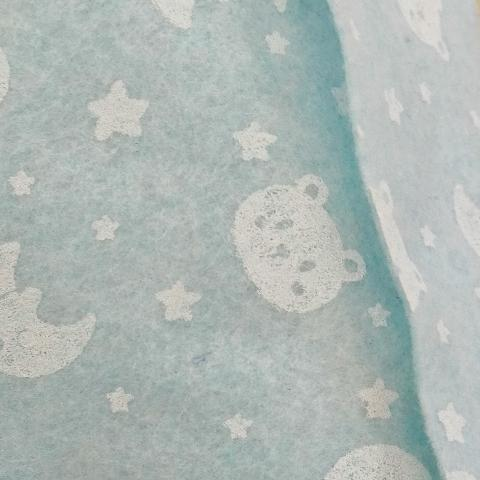 Pannolenci celeste con orsetti e stelline bianche stafil 90x50cm