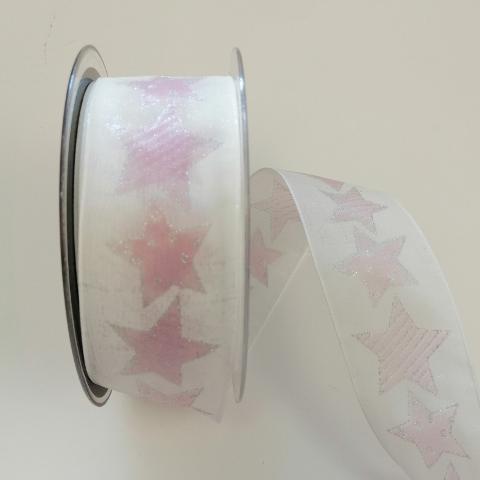 Decoro stelle rosa su fondo bianco con glitter argento con filo nylon pbs 40mm