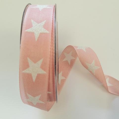 Decoro stelle bianche con filo di nylon pbs colore rosa 25mm