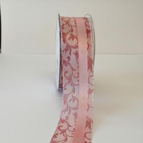 Decoro ghirigori rosa intenso con filo metallico pbs fondo organza rosa con perfili argento mm40