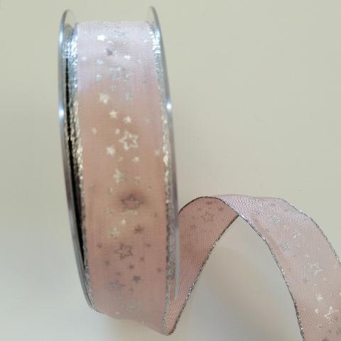 Decoro stelline argento con filo metallico pbs fondo rosa chiaro 25mm