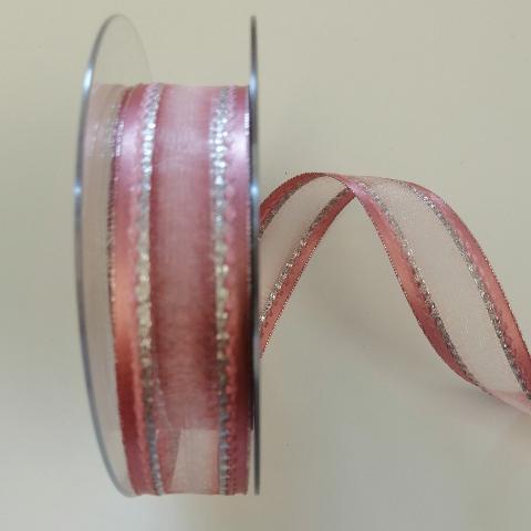 Nastro Decoro di colore rosa con cuciture argento PBS larghezza 25 mm