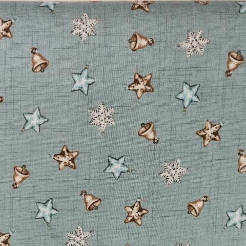 Decoro stelle fiocchi neve e campane stafil fondo azzurro cenere H 120cm