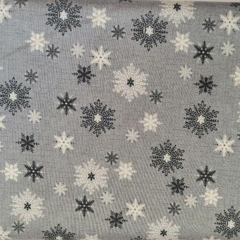 Decoro fiocchi neve chiari e scuri stafil fondo grigio h120cm