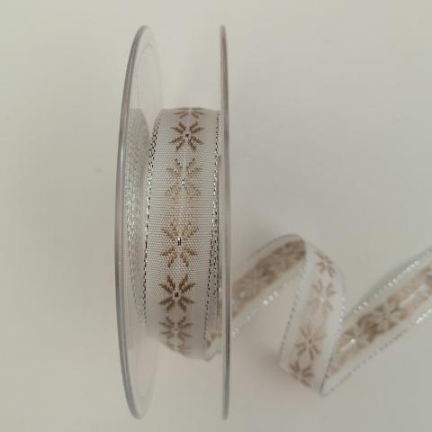 Decoro fiori stilizzati  tortora stafil Fondo bianco 15mm