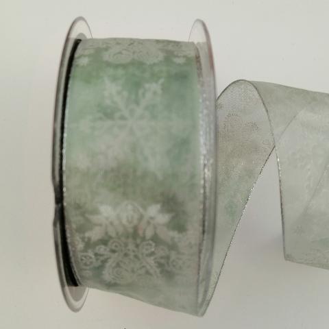 Decoro fiocchi neve bianchi glitterati pbs fondo verde 40mm