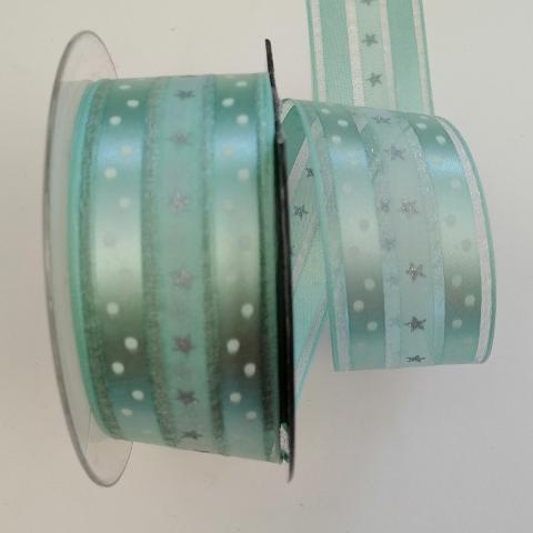 Decoro stelline e pois pbs fondo verde chiaro 4cm