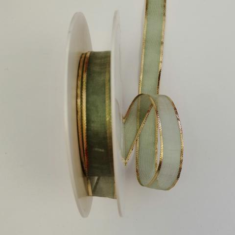 Organza verde con perfili dorati arti e grafica 15mm