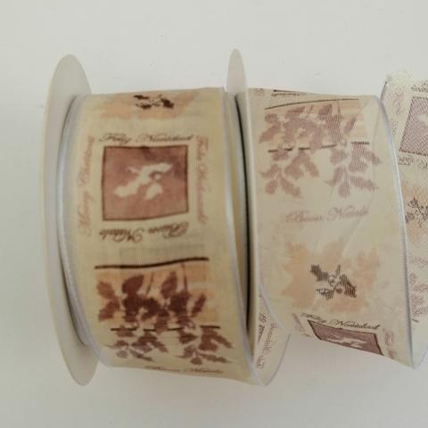 Decoro agrifoglio marrone arti e grafica organza beige 4 cm