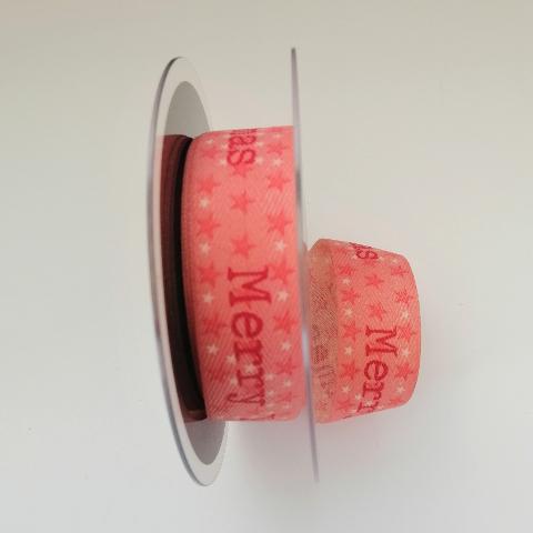 Decoro Merry Xmas nastro Pbs fondo rosa con stelline 25mm