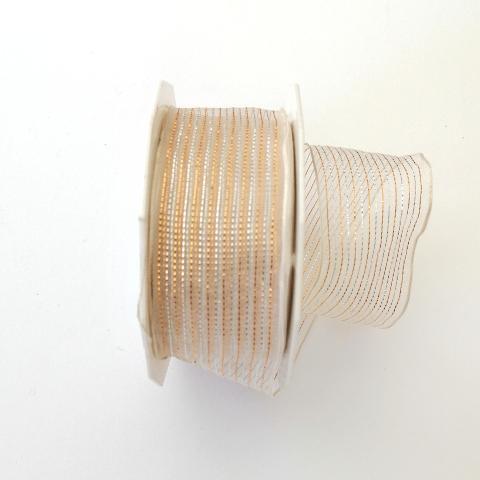 Decoro righe oro e argento arti e grafica fondo organza bianca 4cm