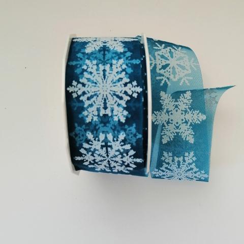 Decoro fiocchi neve a rilievo bianchi arti e grafica turchese  4cm