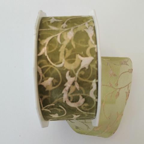 decoro ghirigori dorati  arti e grafica fondo verde trasparente 40mm