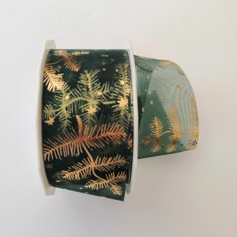 Decoro foglie e stelline dorate  arti e grafica fondo verde scuro 40mm