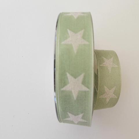 Decoro stelle bianche con filo di nylon pbs fondo verde 25mm