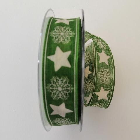 decoro stelle e fiocchi neve pbs fondo verde 25mm con rinforzo metallico