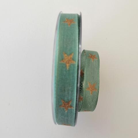Decoro stelle dorate pbs fondo verde 15 mm con rinforzo con filo di nylon