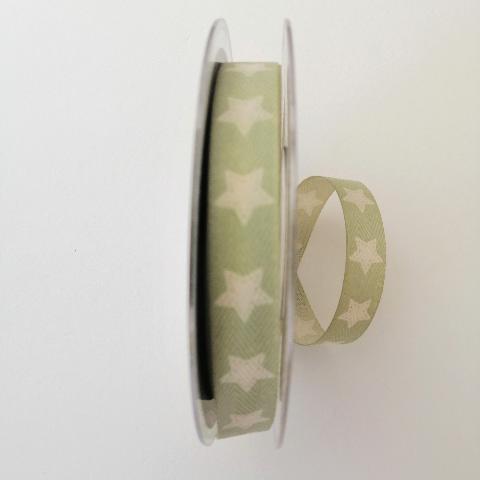 decoro stelle bianche pbs fondo verde 15 mm tessuto a lisca di pesce