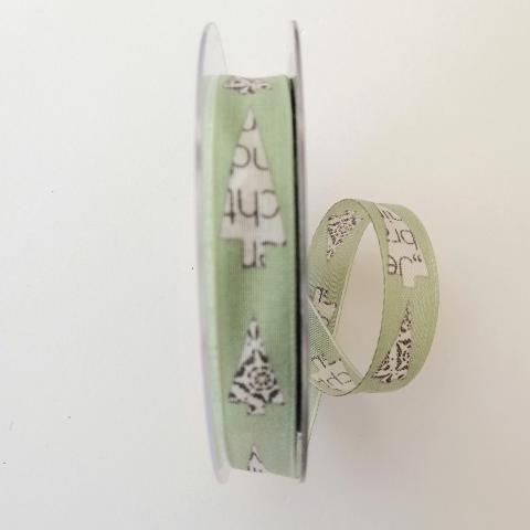 decoro alberelli stilizzati  pbs fondo verde 15 mm con rinforzo con filo di nylon