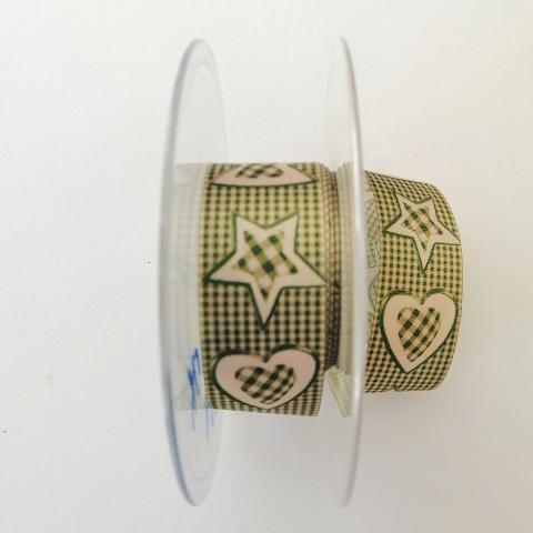 Decoro alberelli cuori e stelle stafil fondo a quadri verde e avorio 25mm