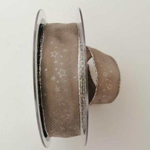 Decoro stelline argento con filo metallico pbs fondo tortora mm25
