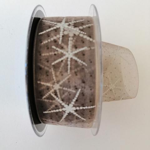 Decoro stelle bianche a rilievo pbs fondo tortora trasparente 40mm