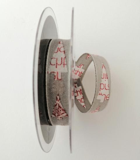 Decoro alberelli stilizzati con scritte e decori rossi pbs fondo grigio 15mm