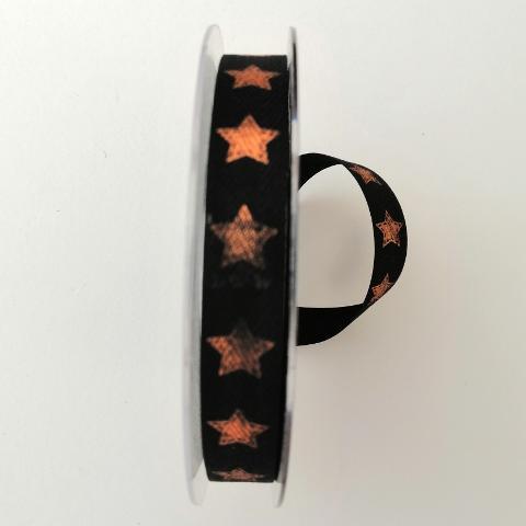 decoro stelle colore rame  pbs fondo nero mm15 tessuto a lisca di pesce