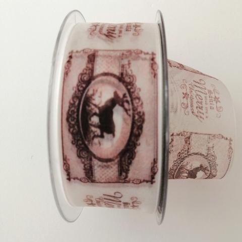 decoro vintage cervi e scritte pbs fondo organza rosata mm40