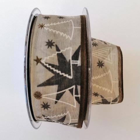 Decoro stelle tortora ed alberelli stilizzati pbs fondo tortora 40mm