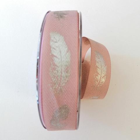 decoro piume argento  pbs fondo rosa 25mm a lisca di pesce