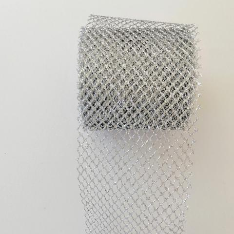 Decoro rete a rombo  arti e grafica fondo argento 70mm