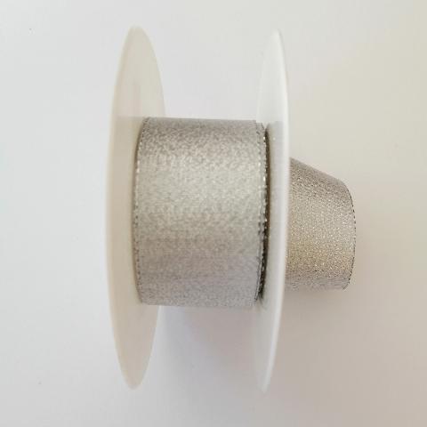 decoro tessuto semplice  arti e grafica fondo argento metallizzato 4cm