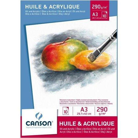 Blocco olio ed acrilico Canson formato A 3 29,7x42cm  290g/mq