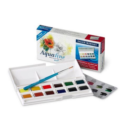 aquafine watercolor daler rowney travel set confezione 12 mezzi godet