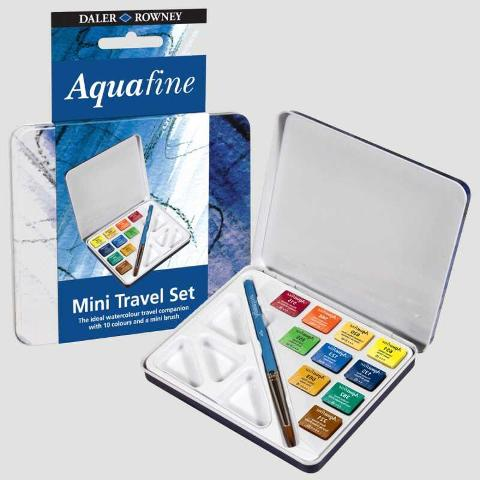 acquerelli mini travel set  daler rowney aquafine 10 colori e mini pennello
