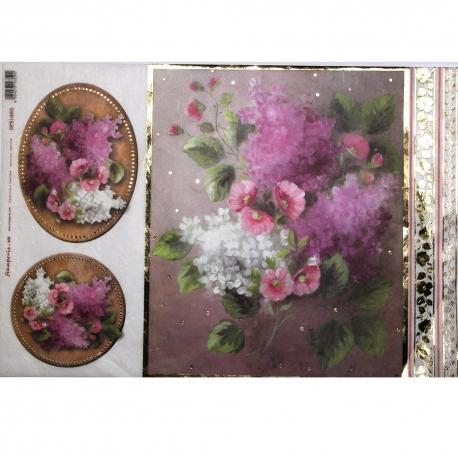 Carta riso fiori in mazzo stamperia 33x48