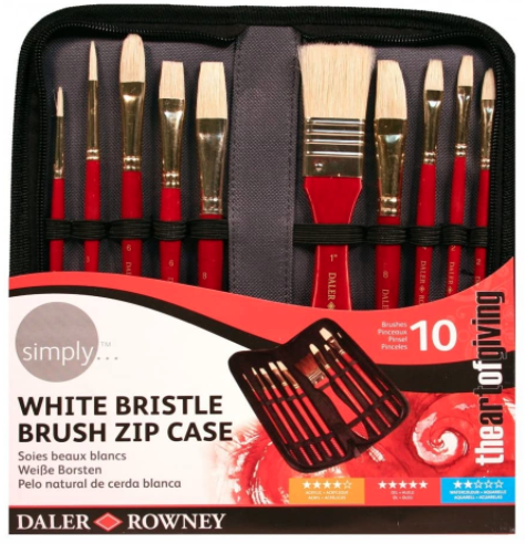 Symply Bristle Brush Zip Case Daler Rowney Set 10 Pennelli