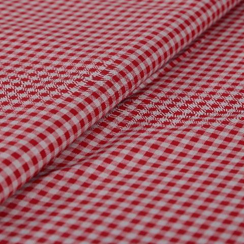 Tessuto Stoffa quadrettata, con riquadri di colore rosso ed ecrù stafil cotone alt 2,80 mt  x 0,50cm