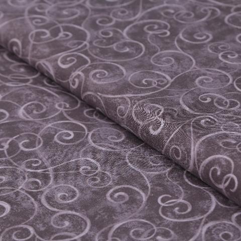 stoffa in cotone tinta marrone con ghirigori HFT altezza 130 cm x (multipli di 50cm)