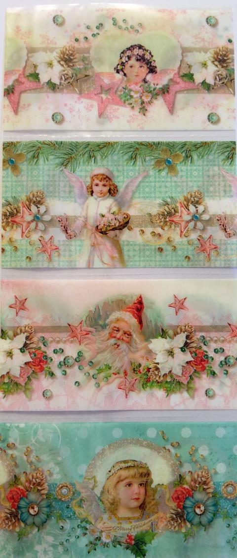 pellicola termoretraibile con fantasia Natale, Fanciulle ed Angeli stafil  26 cm x 7cm