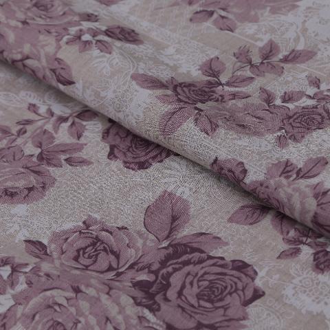 Tessuto misto lino con rose arti e grafica cm 150x70