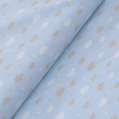 Stoffa cotone azzurra con nuvole e stelle bianchi e  beige stafil altezza 150 x 50 cm
