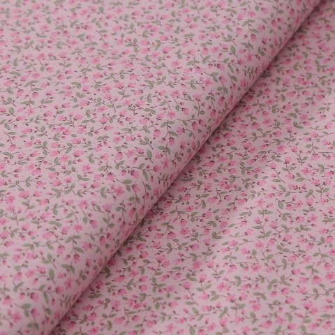 Stoffa in cotone rosa con fiori rosa  e foglioline verdi stafil altezza 110 cm x  50cm